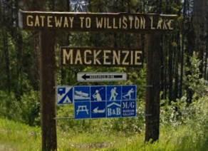 Location sign Mackenzie BC